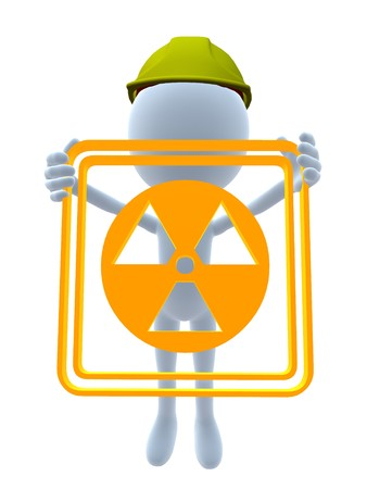 3D hardhat guy holding a 3d hazard sign on a white background