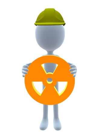 3D hardhat guy holding a 3d hazard sign on a white background photo