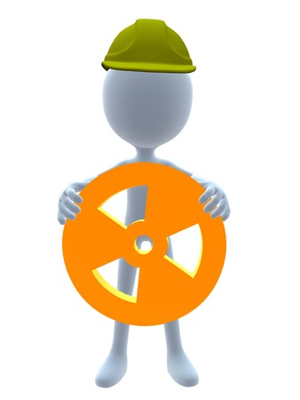 hazard sign: 3D hardhat guy holding a 3d hazard sign on a white background
