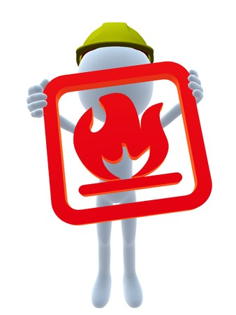 combustible: 3D hardhat guy holding a flammable 3d sign on a white background