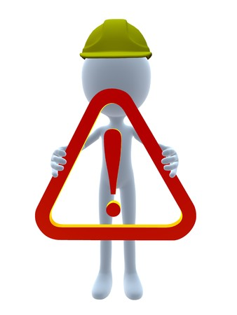 businesses: 3D hardhat guy holding a 3d exclamation sign on a white background