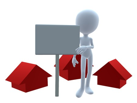 3D real estate guy on a white background Imagens