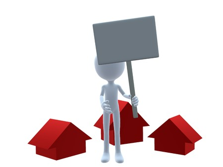listings: 3D real estate guy on a white background Stock Photo