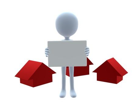3D real estate guy on a white background Zdjęcie Seryjne