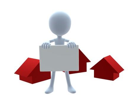 3D real estate guy on a white background Standard-Bild