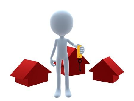 3D vastgoed man op een witte achtergrond Stockfoto - 8020291