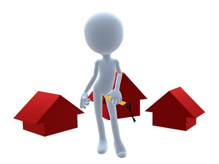 3D real estate guy on a white background photo