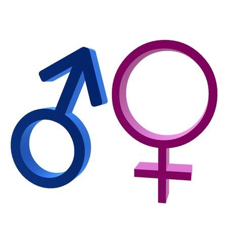白い背景に3D男性と女性のシンボル