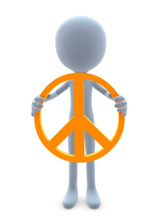 businesses: 3D guy with a peace sign on a white background Stock Photo