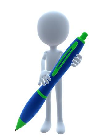 3D man met een pen op een witte achtergrond Stockfoto