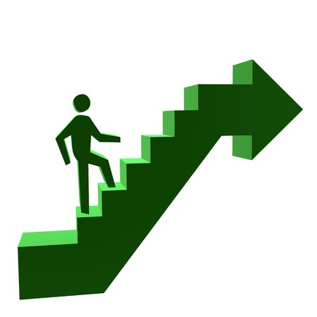 business graphics: 3D man walking up stairs on a white background