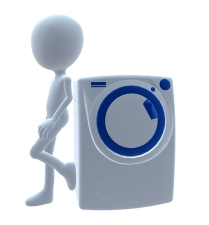 3D  guy with a washing machine on a white background