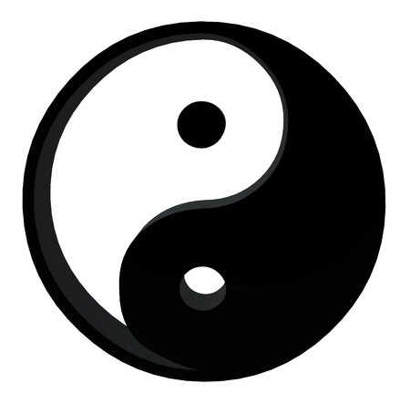 3D yin yang on a white background 写真素材