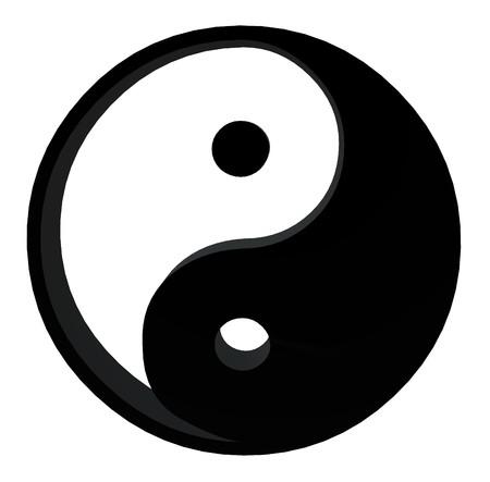 3D yin yang on a white background Standard-Bild