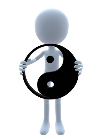 3D guy with a yin yang symbol on a white background Stock Photo - 8020293