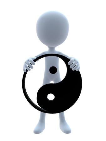 chinese medicine: 3D guy with a yin yang symbol on a white background