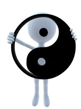 yinyang: 3D guy with a yin yang symbol on a white background