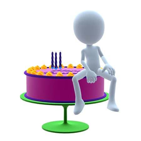 3d: 3D guy with a birthday cake on a white background Stock Photo