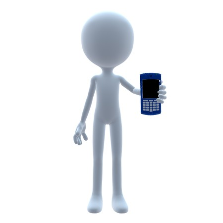 3D guy with a cell phone on a white background