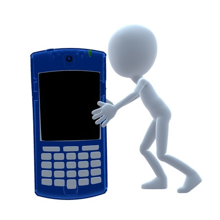 phone: 3D guy with a cell phone on a white background