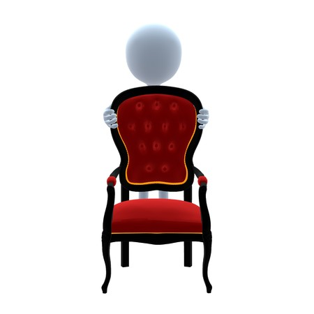 3D guy with a chair on a white background Imagens