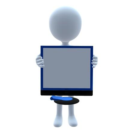 3D kerel met een fonograaf op een witte achtergrond