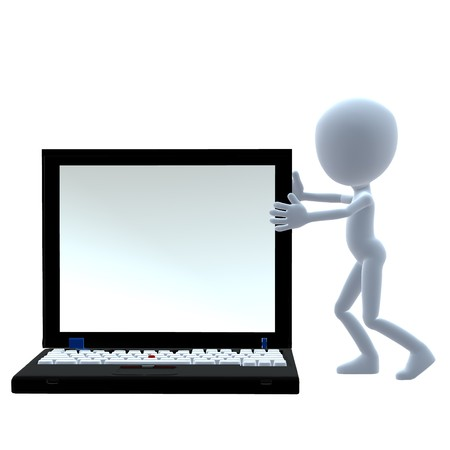 3D guy with a laptop on a white background