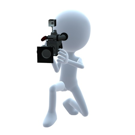 3D guy with a camera on a white background Фото со стока - 8086856