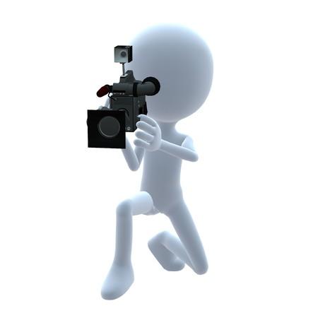 camara de cine: Chico 3D con una c�mara sobre un fondo blanco Foto de archivo