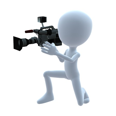 cameraman: 3D guy with a camera on a white background