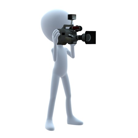 3D guy with a camera on a white background
