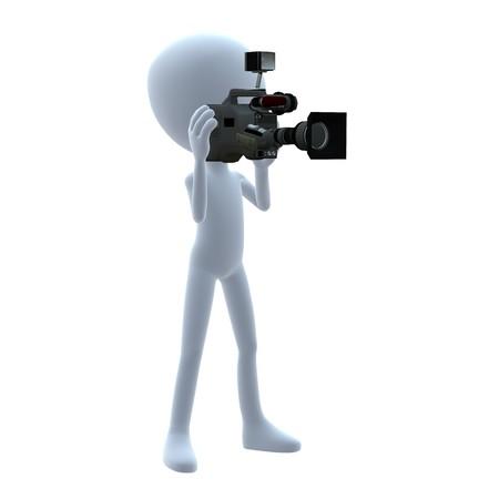 3D Kerl mit einer Kamera auf einem weißen Hintergrund Standard-Bild - 8086797