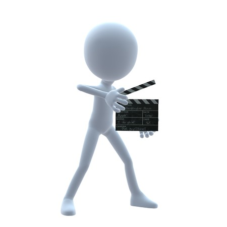 3D guy with a movie clapper on a white background Stock Photo