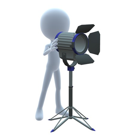 3D guy with movie lighting on a white background Stock Photo