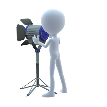 movie film: 3D guy with movie lighting on a white background Stock Photo