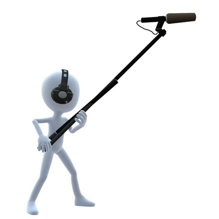 3D guy with a microphone on a white background