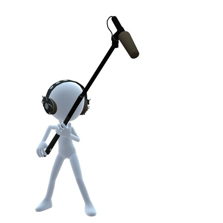 3D guy with a microphone on a white background Zdjęcie Seryjne - 8086804