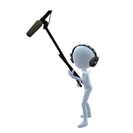 3D kerel met een microfoon op een witte achtergrond