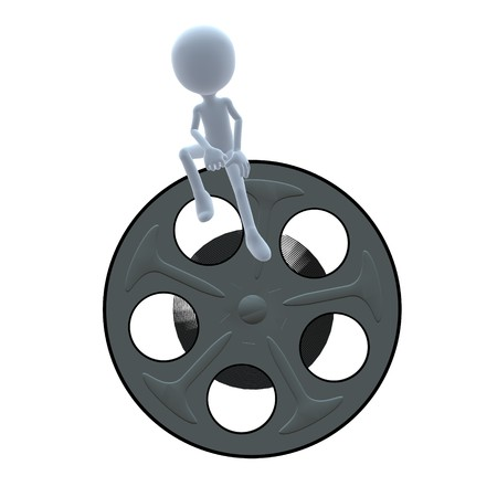 movie film: 3D guy with a movie reel on a white background