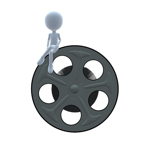 3D guy with a movie reel on a white background
