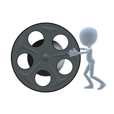 3D guy with a movie reel on a white background Stock Photo - 8087009