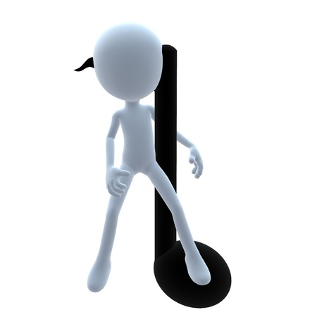 3D guy with music notes on a white background Banco de Imagens