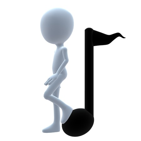 business graphics: 3D guy with music notes on a white background Stock Photo