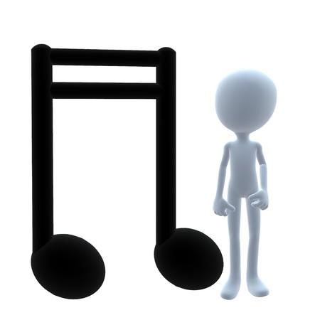 音楽の音符の白い背景の上に 3 D 男