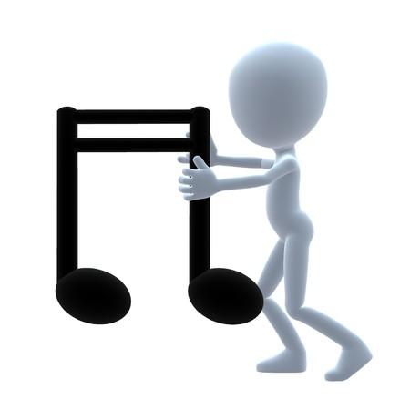 音楽の音符の白い背景の上で 3 D 男