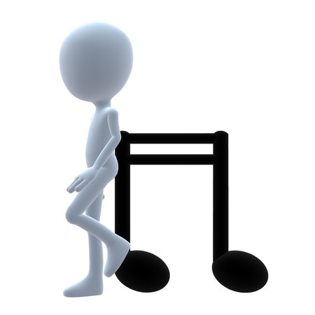 music: 3D guy with music notes on a white background Stock Photo