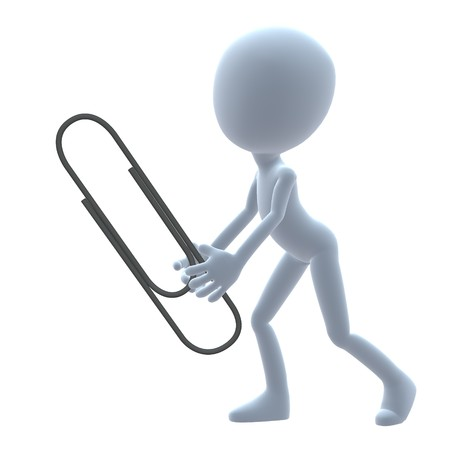3D guy with a paperclip on a white background