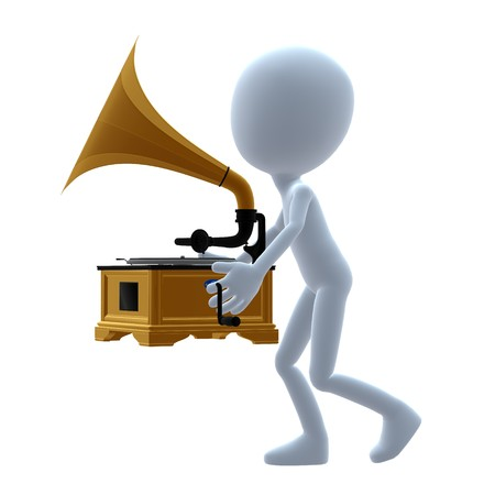 phonograph: 3D guy with a phonograph on a white background