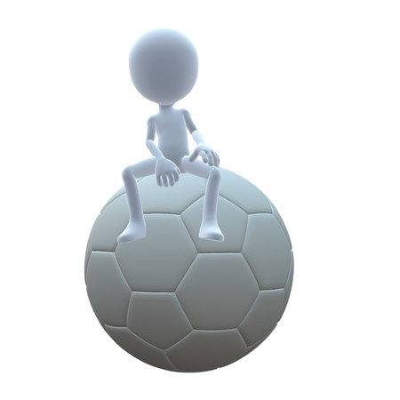 3d ball: 3D guy with a soccer ball on a white background