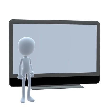 3D-man met een flatscreen op een witte achtergrond Stockfoto